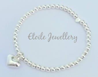 Silver Heart Bracelet, Stacking Bracelet,Ball Bracelet,Stretch Bracelet, Silver Beaded Bracelet, Bracelets for Women