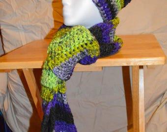 Purple/Green Hat & Scarf Crochet Set