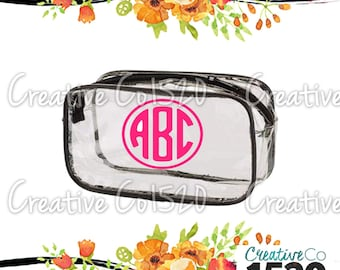 Round Monogram Clear Makeup Bag | Custom Makeup Bag | Clear Makeup Bag Wedding | Bridesmaid Gift | Bridesmaid Gift Idea | Clear Clutch