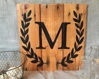 Monogram Laurel Wreath | Farmhouse decor | Reclaimed pallet wood | Hand painted sign