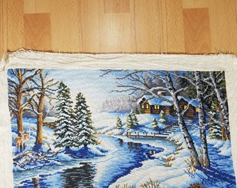 Tapestry - Embroidered pictures - Vintage Embroidere - Hand Made Embroidered - Winter Story - Landscape - Winter landscape.