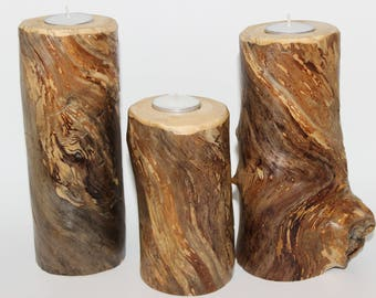 Set of 3 driftwood tea light candle holders - lot, centerpiece, eco friendly, repurposed, reclaimed, up cycled, multicolored