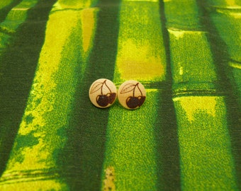 "Soul slices ""cherry"" wooden earrings 13mm"