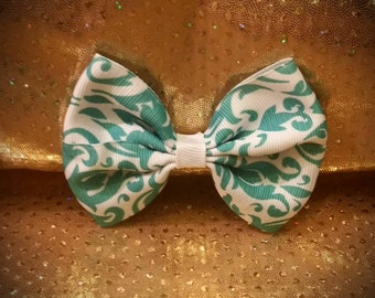 Girls Hair Bow; Hair Bows With Clips; Girls Bows; Hair Clips; Hair Bows; Toddler Bows; Teal; White; Vintage Pattern