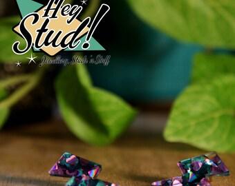 Lightning Bolt Earring Studs - Purple & Teal Glitter