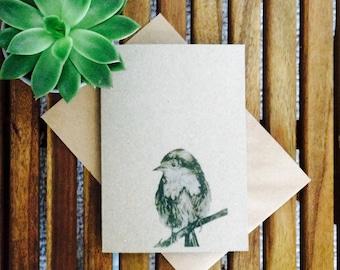Robin card - animal illustration - Robin print recycled eco friendly card