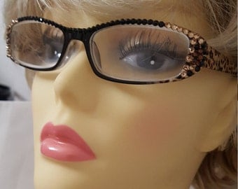 Glamour Swarovski adorned reading glasses - Leopard with case