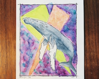 Whale Jam Watercolor Painting