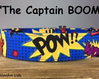 "Blue Yellow Red Purple Comic Dog Collar - ""The Captain Boom!"""