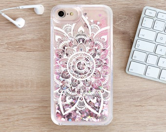 Mandala Glitter iPhone 7 Case iPhone 8 Case iPhone 7 Plus iPhone 8 Plus Case 6 Plus iPhone Case iPhone Phone Cover iPhone 6S Case SE YZ1102
