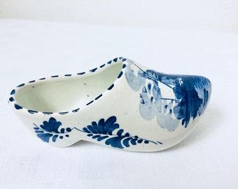 Vintage, China clog, Dutch clog Delft, Dutch pottery, Trinket dish, Home decor, Home gift, Blue and white, Windmill
