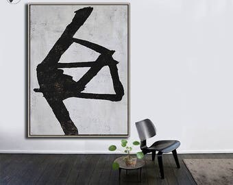 Black White Canvas Art, Large Abstract Art, Vertical Wall Art Contemporary Painting - Ethan Hill Art No.H118V
