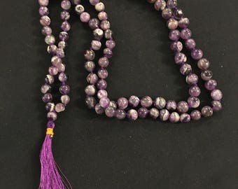Hand Knotted Amethyst Mala Bead Necklace