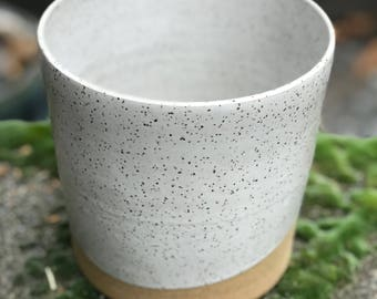 Tall Speckled White Wave Planter