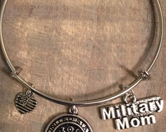 US Army Bangle Charm Bracelet, Military Mom, Army Mom, Army Logo, US Military, Mom, Army Support, Support Our Troops