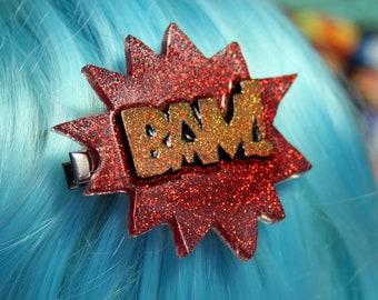 Comic Book BAM Hair Clip Red Yellow Glitter Resin Superhero Barrette