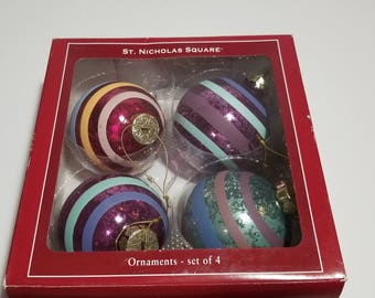 Vintage St Nicholas Square Ornaments Set of 4