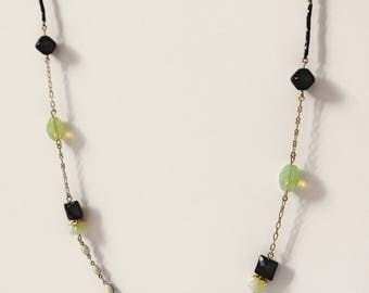 Black, green and gold sautoir necklace - Tulip Collection -