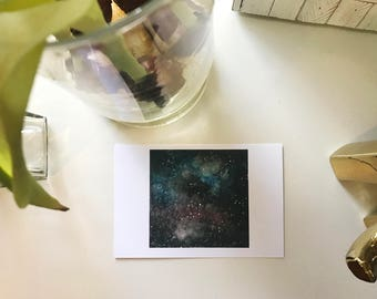 Spinning Nebulas - Original Watercolor Print and Postcard