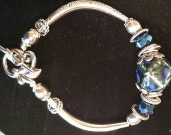 Large Blue Stone and Silver Bangle Bracelet