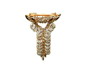 Vintage Signed ALICE CAVINESS Clear Rhinestone Gold Toned Dangle Brooch