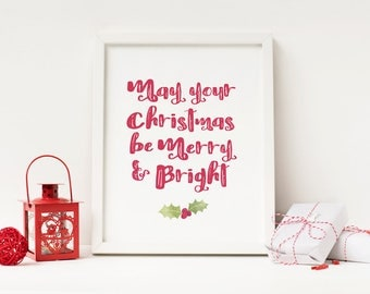 Last Minute Christmas Gift - Merry and Bright Sign - Instant Download Christmas Art - Christmas Printable - Christmas Decor - Gift Under 10