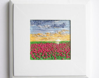 Sunrise and Tulips embroidered on canvas | Handmade | Wall Art | Home Decor | Landscape  | Minimalism | Tiny Art | Hand Embroidery | Textile