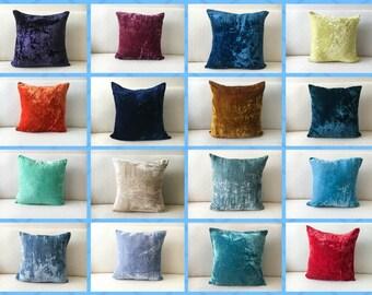 Custom Velvet Pillow covers 20x20 26x26 Euro Sham 24x24 16x16 18x18 Throw Pillow Gold Teal Beige Blue Orange Purple Yellow Red pillow 12x12
