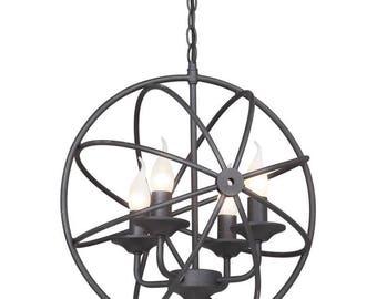 Black Round Chandelier - Metal Pendant Lights - Vintage look lamp
