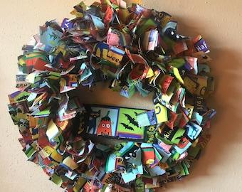 Halloween Rag/Fabric Wreath, Rag Wreath, Rag / Fabric Wreath Halloween