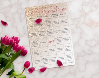 Wedding Bingo 2 Brides Edition: 10-Card Printed Set with Gold Stickers for Marking Squares