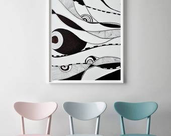 Digital Prints, Black White Print, Abstract, lines, Art Print, Home Decor, Wall Decor, Wall art