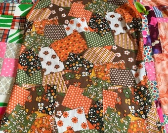 Vintage Patchwork Floral Cats Kittens Orange Brown Green White Black Flower Power Pull On Sleeveless Mini Shift Dress With Pockets 1970s