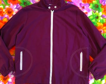 Vintage Deep Dark Purple With White Accents Zip Up Mod Coat Jacket Stand Up Collar Twiggy Koret of California