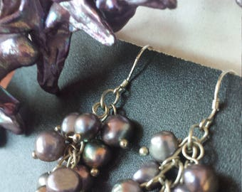 "Purple pearls Necklace and earrings, Gorgeous ""cross"" shaped purple pearls necklace and fresh water pearl earring set, purple pearl jewelry"