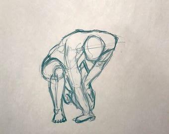 """Figure Drawing - Male Kneeling 18""""x24"""""""