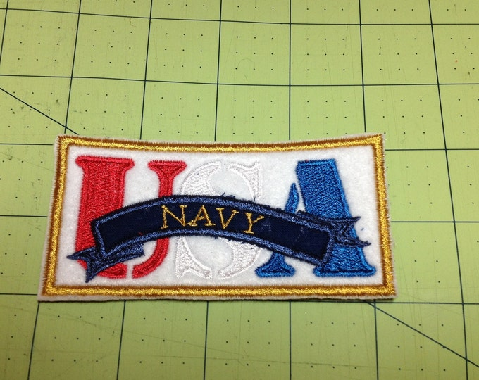 Support the Military Embroidered Patches - Army - Navy - Air Force - Marines 2X4 inch Size Add to Hats, Shirts, Jackets or Quilts