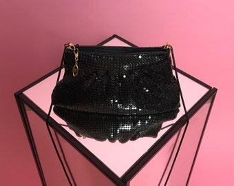 Black chainmail crossbody purse