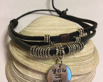 Leather Bracelet with You = Me Charm