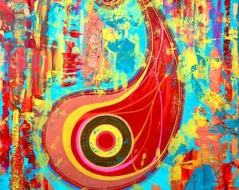 Paisley.Abstrac Art by Lana Mindeli.Colorful modern artwork.stretched canvas.walldecor homedecor