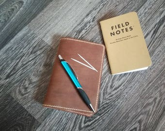 Leather Field Notes cover with pen holder and card slots ,Refillable journal cover, Leather notebook cover, Leather notebook sleeve,
