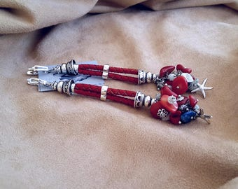 Earrings with coral, mother of Pearl, Lapis and Larimar
