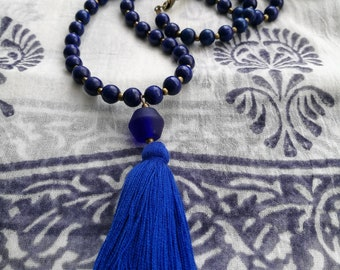 Cobalt Blue Tassel Necklace...Long cobalt blue necklace / Blue Boho necklace / Long cobalt blue necklace with thai ancient glass bead