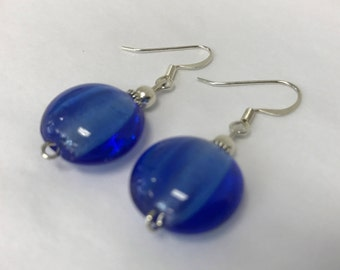Royal Blue Fused Glass Round Drop Earring