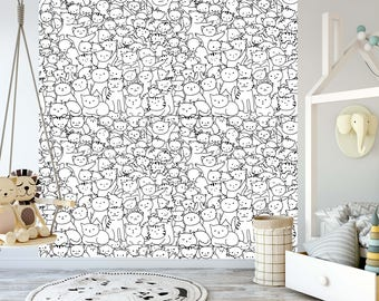 removable wallpaper for coloring mural peel stick for kids and adults kitty background - Coloring Book Wallpaper