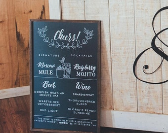 Custom Bar Menu Chalkboard LARGE | Wedding Bar Menu | Wedding Drink Menu | Signature Drink Sign