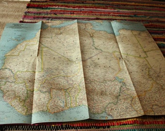 Vintage National Geographic Map Supplement: Africa 1966, 1960s National Geographic Map Art, Vintage African Map