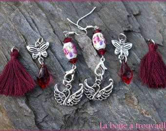 "Earrings 3 in 1 ""A tire with wings"""