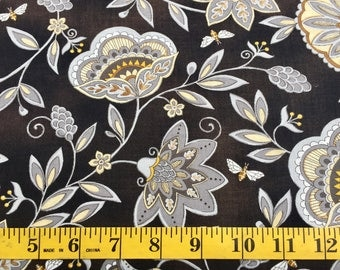 Moda Bee Creative Honey Flowers and Bees Deb Strain 19751-15 Black White Gold Cotton Fabric By the Yard