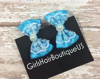 Girl Hair Bows, Blue Bow Clips, Blue Bow Hair Clips, Blue Hair Clip, Girl Blue Bow Clips, Baby Hair Clips